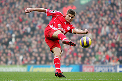 3/2/2007 FA Premier League Football.<br /> Liverpool v Everton.<br /> Steven Gerrard attempts a volley at goal.<br /> Photo: Simon Stacpoole / Offside.<br /> <br /> Sequence 2 of 3