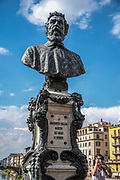 Bust of Benvenuto Cellini on the Ponte Vecchio, Florence, Italy. Benvenuto Cellini (3 November 1500 – 13 February 1571) was an Italian goldsmith, sculptor, draftsman, soldier, musician, and artist who also wrote a famous autobiography and poetry.