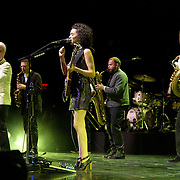 BETHESDA, MD - September 30th, 2012 - David Byrne (far left) and St. Vincent (middle) perform at the Strathmore Music Hall as part of their joint tour. The pair released a collaborative album, Love This Giant, earlier this month. (Photo by Kyle Gustafson/For The Washington Post)