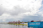 Eton Dorney, Windsor, Great Britain,..2012 London Olympic Regatta, Dorney Lake. Eton Rowing Centre, Berkshire[ Rowing]...Description; GBR W8+,  start their heat of the women's Eights.  Dorney Lake  Crew. Bow Olivia WHITLAM, Louise REEVE, Jess EDDIE, Lindsey MAGUIRE, Natasha PAGE, Annabel VERNON, Katie GREVES, Victoria THORNLEY and Cox, Caroline O'CONNER.  [Mandatory Credit: Peter Spurrier/Intersport Images]. 29/07/2012