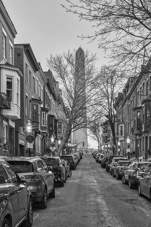 Boston B&W fine art photography images of the historic Bunker Hill Monument, William Prescott and Early 19th century brickwork along Monument Avenue in Charlestown, MA. Bunker Hill Monument is the site of the first major battle of the American Revolution, aka The Battle of Bunker Hill. The Bunker Hill Monument on Breed's Hill is the end of the Boston Freedom Trail. Visiting this historic site and climbing to the top of the pinnacle is an experience itself but the vistas of Boston and surrounding areas are amazing and well worth the trip up the 294 steps.<br /> <br /> This Boston Charlestown black and white photography image of the historic Bunker Hill Monument, William Prescott and colonial brownstones along Monument Avenue is available as museum quality photography prints, canvas prints, acrylic prints or metal prints. Prints may be framed and matted to the individual liking and decorating needs:<br /> <br /> https://juergen-roth.pixels.com/featured/boston-monument-avenue-juergen-roth.html<br /> <br /> All photographs are available for digital and print use at www.RothGalleries.com. Please contact me direct with any questions or request.<br /> <br /> Good light and happy photo making!<br /> <br /> My best,<br /> <br /> Juergen<br /> Licensing and Prints: http://www.rothgalleries.com<br /> Instagram: https://www.instagram.com/rothgalleries<br /> Twitter: https://twitter.com/naturefineart<br /> Facebook: https://www.facebook.com/naturefineart