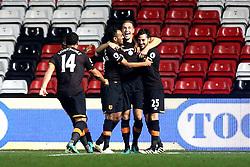 Michael Dawson of Hull City celebrates with teammates after scoring a goal  - Mandatory by-line: Robbie Stephenson/JMP - 25/10/2016 - FOOTBALL - Ashton Gate - Bristol, England - Bristol City v Hull City - EFL Cup