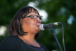 © Licensed to London News Pictures. 08/08/2016. Bristol, UK. DIANE ABBOTT MP speaks before Jeremy Corbyn, leader of the Labour Party, at a rally on Bristol's College Green as part of Corbyn's election campaign for the leadership of the Labour Party against challenger Owen Smith. Photo credit : Simon Chapman/LNP