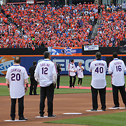 NEW YORK, NEW YORK - May 28: Gary Carter's wife Sandy and son D.J. Carter receive a standing ovation as they are introduced to the crowd during the anniversary celebration of the 1986 World Championship team before the Los Angeles Dodgers Vs New York Mets regular season MLB game at Citi Field on May 28, 2016 in New York City. (Photo by Tim Clayton/Corbis via Getty Images)