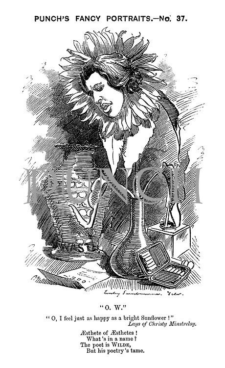 """Punch's Fancy Portraits. No.37. """"O.W."""" """"O, I feel just as happy as a bright Sunflower!"""" Lays of Christy Minstrelsy. Aesthete of Aesthetes! What's in a name? The poet is Wilde, But his poetry's tame."""
