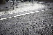 Wet cobbled street after rain, Dordrecht, Netherlands