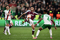 Football - 2021 / 2022 UEFA Europa League - Group H - Round Two - West Ham United vs Rapid Vienna - London Stadium - Thursday 30th September<br /> <br /> West Ham United's Manuel Lanzini battles for possession with Rapid Vienna's Emanuel Aiwu.<br /> <br /> COLORSPORT/Ashley Western