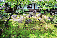 """Chouontei """"garden of the sound of the tide"""" is a refined garden nestled behind Kenninji Temple. The garden's san-zon-seki - a set of three stones that represent Buddha and two disciples.  Zazen-seki, a stone for seated meditation and maple trees are placed to afford the visitor a beautiful view from each direction."""