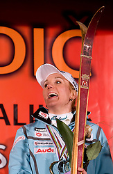Slovenian athlete Petra Majdic got more than 30-years old skiis  when she arrived home with small cristal globus at the end of the nordic season 2008/2009, on March 24, 2009, in Dol pri Ljubljani, Slovenia. (Photo by Vid Ponikvar / Sportida)