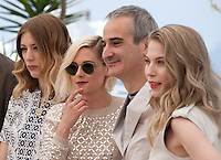 Sigrid Bouaziz, Kristen Stewart, Olivier Assayas and Nora von Waldstatten at the Personal Shopper film photo call at the 69th Cannes Film Festival Tuesday 17th May 2016, Cannes, France. Photography: Doreen Kennedy