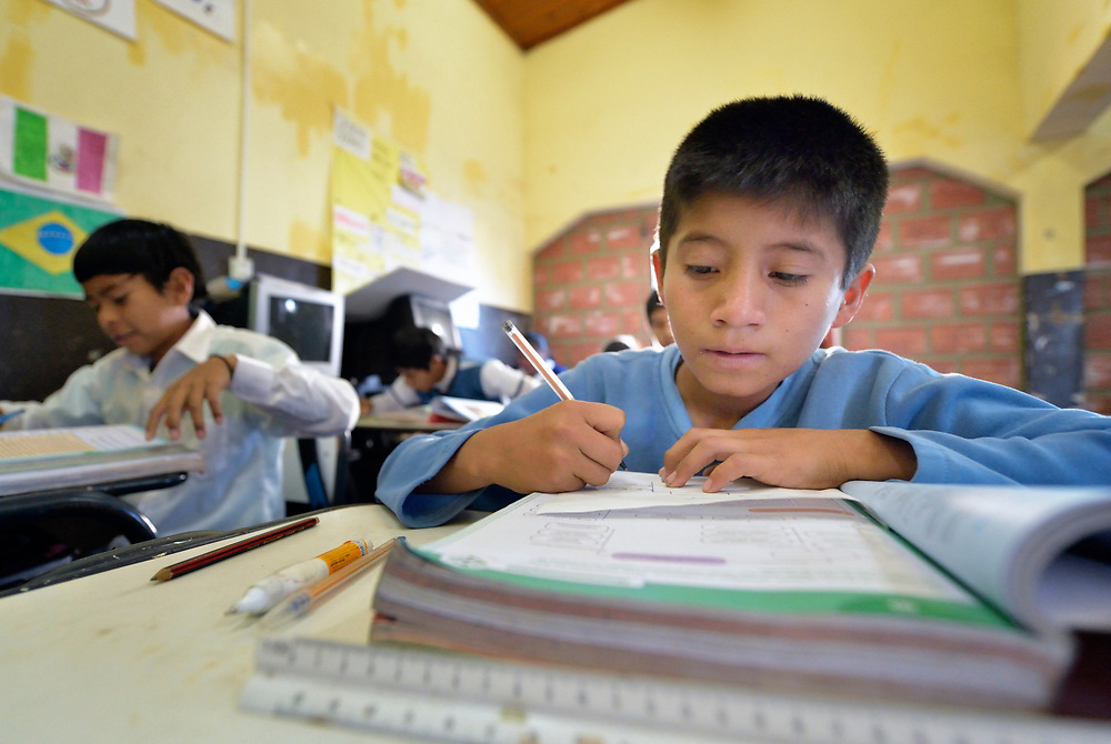 Wichi indigenous children study in a school in El Algarrobal, a small town in the Chaco region in northern Argentina.