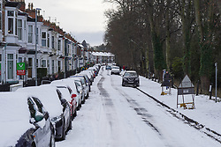 © Licensed to London News Pictures. 02/1/2021. A general view of a street in Darlington  covered with snow this morning.  Photo credit: Ioannis Alexopoulos/LNP