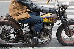 """""""Sushi"""" Atsushi Yasui leads a ride around Tokyo with friends of the Freewheelers And Company shop, Japan. December 8, 2015.  Photography ©2015 Michael Lichter."""