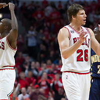 16 April 2011: Chicago Bulls small forward Luol Deng (9) and Chicago Bulls shooting guard Kyle Korver (26) react during the Chicago Bulls 104-99 victory over the Indiana Pacers, during the game 1 of the Eastern Conference first round at the United Center, Chicago, Illinois, USA.