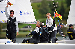 Ian Williams protests Hansen in the Petit Final, and now leads the World Match Racing Tour. Photo: Chris Davies/WMRT