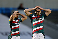 Rugby Union - 2020 / 2021 Gallagher Premiership - Round 18 - Sale Sharks vs Leicester Tigers - A J Bell Stadium<br /> <br /> Reaction from Zack Henry and Kobus Van Wyk of Leicester Tigers