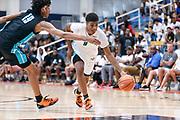 THOUSAND OAKS, CA Sunday, August 12, 2018 - Nike Basketball Academy. LaTrayvion Jackson 2019 #9 of Sunrise Christian Academy attacks the defense. <br /> NOTE TO USER: Mandatory Copyright Notice: Photo by John Lopez / Nike