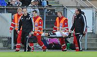Fotball Tippeligaen Rosenborg - Lillestrøm<br /> 9 mai 2015<br /> Lerkendal Stadion, Trondheim<br /> <br /> Rosenborgs Stefan Strandberg ble skadet og bæres ut på båre<br /> <br /> <br /> Foto : Arve Johnsen, Digitalsport