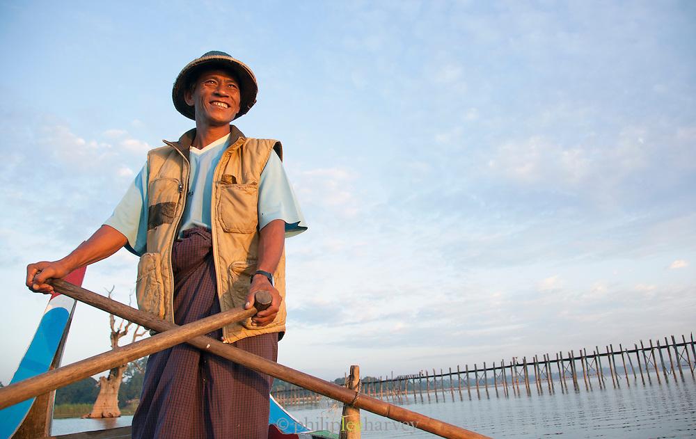 A fishermen on the Irrawaddy River, near Mandalay, Myanmar