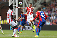 Jonathan Walters of Stoke City (c)  heading the ball. Premier League match, Crystal Palace v Stoke city at Selhurst Park in London on Sunday 18th Sept 2016. pic by John Patrick Fletcher, Andrew Orchard sports photography.