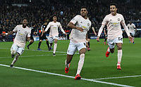 Football - 2018 / 2019 UEFA Champions League - Round of Sixteen, Second Leg: Paris Saint-Germain (2) vs. Manchester United (0)<br /> <br /> Marcus Rashford of Manchester United celebrates scoring his team's third goal, at Parc des Princes, Paris.<br /> <br /> COLORSPORT/IAN MACNICOL