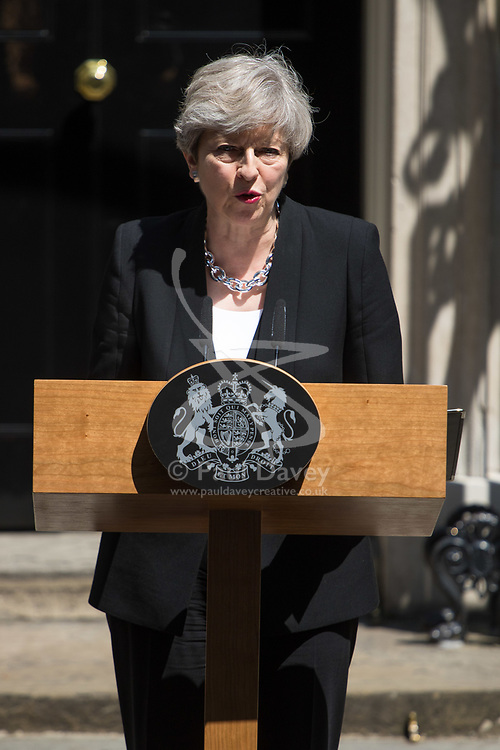 London, June 19th 2017. British Prime Minister Theresa May addresses the media in Downing Street ahead of a visit to the scene of the Finsbury Park Terrorist incident in which one Muslim man was killed and ten were hurt after being run over by a van.