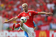 Aaron Ramsey of Wales in action.  Euro 2016, Wales v Slovakia at Matmut Atlantique , Nouveau Stade de Bordeaux  in Bordeaux, France on Saturday 11th June 2016, pic by  Andrew Orchard, Andrew Orchard sports photography.