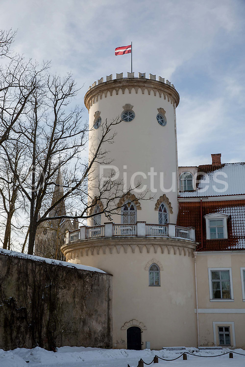 A historic building in the old town of Cesis on the 14th February 2019 in Cesis in Latvia. Cesis is a town in north eastern Latvia, known for its medieval castle.