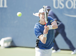 August 22, 2017 - New York, New York, United States - Marc Polmans of Australia returns ball during qualifying game against Bradley Klahn of USA at US Open 2017  (Credit Image: © Lev Radin/Pacific Press via ZUMA Wire)