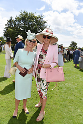 29 July 2021 - The QATAR Goodwood Festival Ladies Day at Goodwood Racecourse, West Sussex.<br /> Picture Shows - The Duchess of Richmond & Gordon and Louise Fennell.<br /> <br /> NON EXCLUSIVE - WORLD RIGHTS