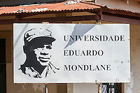 Sign advertising the Eduardo Mondlane University in Mozambique, Limpopo floodplain, Maputo Province, Mozambique