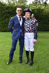 29 July 2021 - The QATAR Goodwood Festival Ladies Day at Goodwood Racecourse, West Sussex.<br /> Picture Shows - Frankie Dettori and his daughter Ella Dettori, <br /> <br /> NON EXCLUSIVE - WORLD RIGHTS