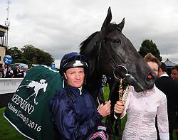 Jockey Seamus Heffernan in the winners enclosure after he rode Caravaggio to victory in the Keeneland Phoenix Stakes at Curragh Racecourse, Co. Kildare, Ireland.
