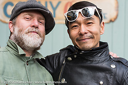 The Race of Gentlemen's Mel Stultz with Yujin Asano after a ride around Tokyo with friends of the Freewheelers And Company shop. Tokyo, Japan. December 8, 2015.  Photography ©2015 Michael Lichter.