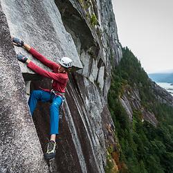 Cory Rogans climbing Blazing Saddles 5.10b in Squamish BC.