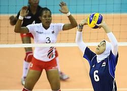 Doaa Abdelghany of Egypt spikes against Yvonne Wavinya of Kenya during their U23 Africa Nations Championship at Safaricom Stadium Stadium in Nairobi on October 24, 2016. Egypt won 3-2. Photo/Fredrick Onyango/www.pic-centre.com (KEN)