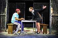 """Mary Jane (Elizabeth Canavan) and Angel (Joe Quintero) in a scene from """"Jesus Hopped the 'A' Train"""" by the LAByrinth Theater Company from New York City, directed by Philip Seymour Hoffman. The play ran at the Guilded Balloon during the Edinburgh Festival Fringe."""