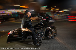 """Riding down the main drag - """"Biking on the Boulevard"""" on Dr. Mary McLeod Bethune Blvd during Daytona Bike Week 75th Anniversary event. FL, USA. Friday March 11, 2016.  Photography ©2016 Michael Lichter."""