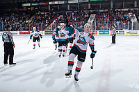 KELOWNA, CANADA - MARCH 13: Kyle Topping #24 of the Kelowna Rockets celebrates a tying goal against the Spokane Chiefs on March 13, 2019 at Prospera Place in Kelowna, British Columbia, Canada.  (Photo by Marissa Baecker/Shoot the Breeze)