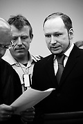 Terrorist Anders Behring Breivik appears in court on the third week during his trial. The trial will last for ten weeks. Anders is responsible for the killing of 77 people on 22 July 2011.