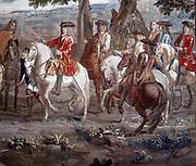 John Churchill, Duke of Marlborough (1650-1722) English soldier, at Battle of Blenheim (1704). Detail from tapestry at Blenheim Palace, Woodstock, Oxfordshire.