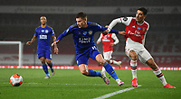 Football - 2019 / 2020 Premier League - Arsenal vs. Leicester City<br /> <br /> Leicester City's Harvey Barnes holds off the challenge from Arsenal's Hector Bellerin, at the Emirates Stadium.<br /> <br /> COLORSPORT/ASHLEY WESTERN