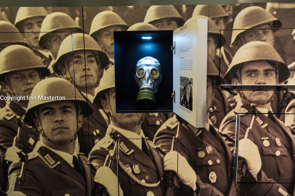 Gas mask exhibit at the East German DDR Museum in Berlin Germany