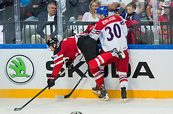 Sean Couturier of Canada vs Jakub Krejcik of Czech Republic during Ice Hockey match between Canada and Czech Republic at Semifinals of 2015 IIHF World Championship, on May 16, 2015 in O2 Arena, Prague, Czech Republic. Photo by Vid Ponikvar / Sportida