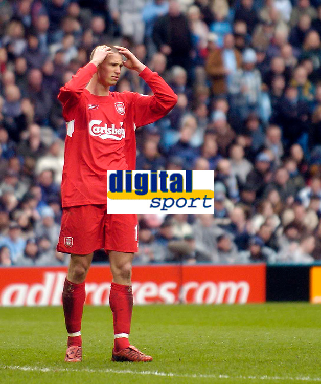 Photo. Jed Wee.<br /> Manchester City v Liverpool, Barclays Premiership, 09/04/2005.<br /> Liverpool's Anthony Le Tallec holds his head after a missed chance.