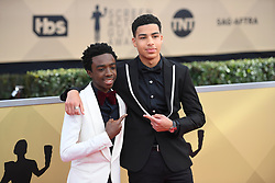 January 20, 2018 - Los Angeles, California, U.S. - CALEB McLAUGHLIN AND MARCUS SCRIBNER during red carpet arrivals for the 24th Annual Screen Actors Guild Awards, held at The Shrine Expo Hall. (Credit Image: © Kevin Sullivan via ZUMA Wire)