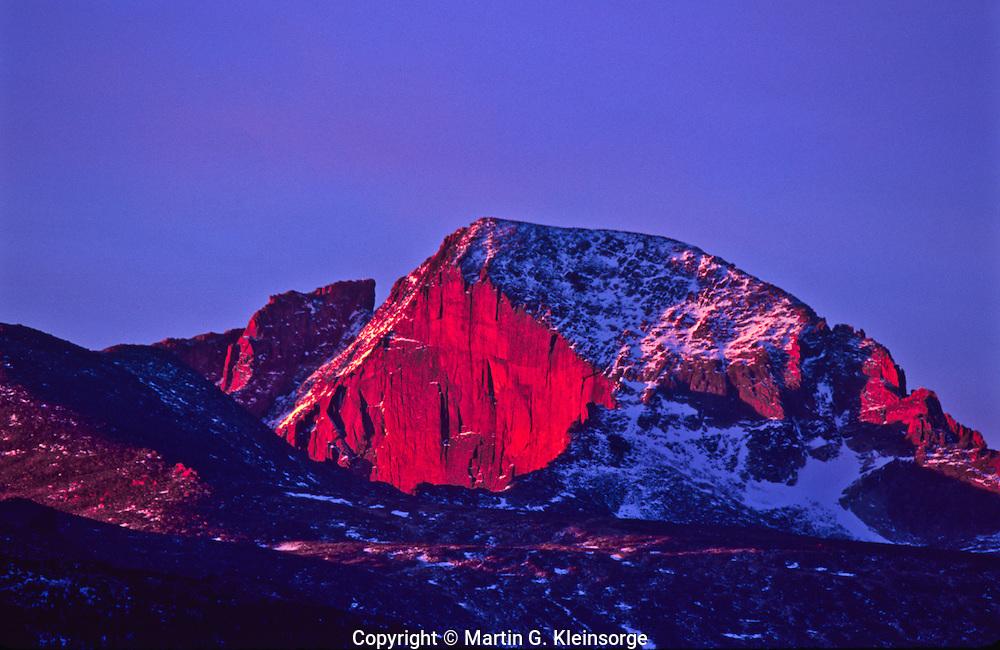 14,255 ft. Longs Peak at sunrise. Early morning light on the diamond.  Rocky Mountain National Park, Colorado.