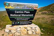 Entrance sign at Carrizo Plain National Monument, California USA