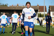 AFC Wimbledon defender Mads Bech Sorensen (26) warming up during the EFL Sky Bet League 1 match between AFC Wimbledon and Fleetwood Town at the Cherry Red Records Stadium, Kingston, England on 8 February 2020.