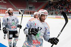Alexander Eisath of Rittner Baum celebrates goal during Ice Hockey match between HDD SIJ Acroni Jesenice and Rittner Buam in 2nd Semifinal of Alpine League 2017/18 on March 24, 2018 in Arena Podmezakla, Jesenice, Slovenia. Photo by Urban Urbanc / Sportida